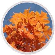 Orange Autumn Leaves Art Prints Blue Sky Round Beach Towel