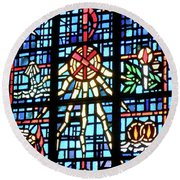Orange Blue Stained Glass Window Round Beach Towel by Thomas Woolworth