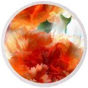 Orange Carnations Round Beach Towel
