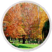 Orange Colored Trees Round Beach Towel