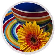 Orange Daisy With Plate And Vase Round Beach Towel