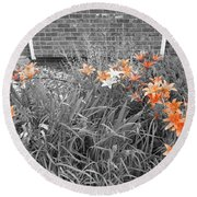 Orange Day Lilies. Round Beach Towel by Ausra Huntington nee Paulauskaite