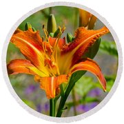 Orange Day Lily Round Beach Towel