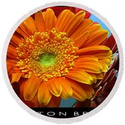 Orange Floral Round Beach Towel