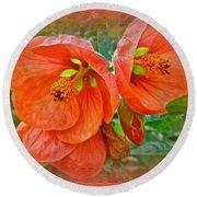 Orange Hibiscus Flowers Round Beach Towel