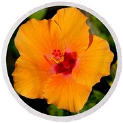 Orange Hibiscus Round Beach Towel