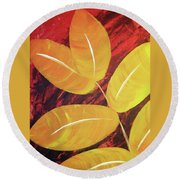 Orange Leaves Round Beach Towel