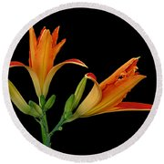 Orange Lily On Black Round Beach Towel