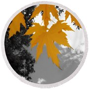 Orange Maple Leaves Round Beach Towel