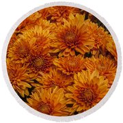 Orange Mums Round Beach Towel