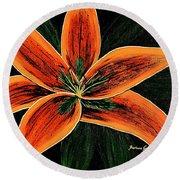 Orange Oriental Lily Round Beach Towel