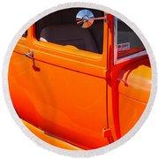 Orange Passenger Door Round Beach Towel