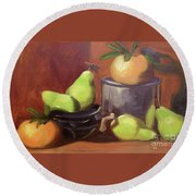 Orange Pears Round Beach Towel