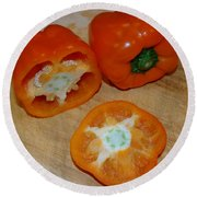 Orange Peppers Round Beach Towel