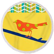 Orange Polka Dot Bird Round Beach Towel