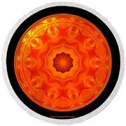 Orange Rose Kaleidoscope Under Glass Round Beach Towel