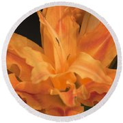 Orange Ruffles Round Beach Towel