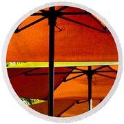Orange Sliced Umbrellas Round Beach Towel