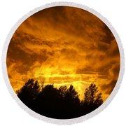 Orange Stormy Skies Round Beach Towel