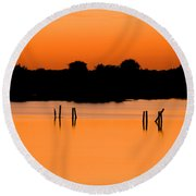 Orange Sunset Florida Round Beach Towel