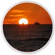 Orange Sunset II Round Beach Towel