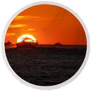 Orange Sunset IIi Round Beach Towel