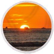 Orange Sunset V Round Beach Towel