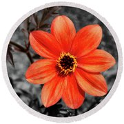 Orange Sunshine Round Beach Towel