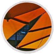 Orange Umbrella Abstract Round Beach Towel