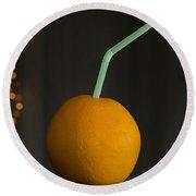 Orange With Straw Round Beach Towel