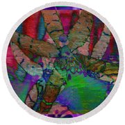 Orchid Abstraction Round Beach Towel