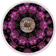 Orchids And Fantasy Flowers Round Beach Towel