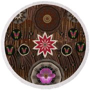 Orchids And Leather Round Beach Towel