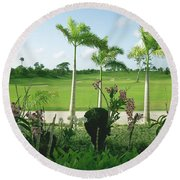 Orchids At Iberostar Golf Course In Punta Cana Dr Round Beach Towel