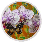 Orchids With Speckled Butterfly Round Beach Towel