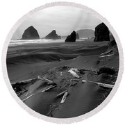 Oregon Coast Black And White Round Beach Towel