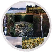 Oregon Collage From Sept 11 Pics Round Beach Towel