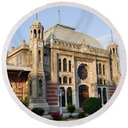 Orient Express Station In Istanbul Round Beach Towel