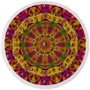 Orient Sun In Fantasy Style Round Beach Towel
