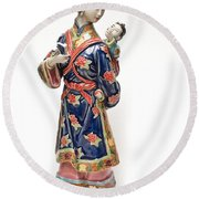 Oriental Lady And Child Round Beach Towel