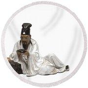 Oriental Warrior At Rest Round Beach Towel