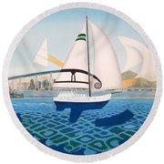 Coronado Sailin' - Memoryscape Round Beach Towel
