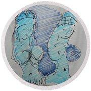 Original Sketch For The Stripper's Mirror Round Beach Towel
