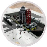 Orion-drive Spacecraft On A Remote Round Beach Towel by Rhys Taylor