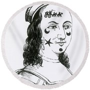 Ornamental Patches On Face, 17th Century Round Beach Towel