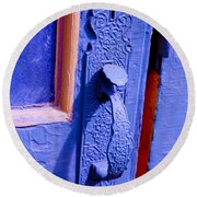 Ornate Blue Handle 2 Round Beach Towel
