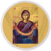 Orthodox Icon Virgin Mary Round Beach Towel