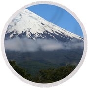 Osorno Volcano Ringed By Clouds Round Beach Towel