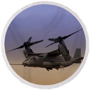 Osprey In Flight I Round Beach Towel