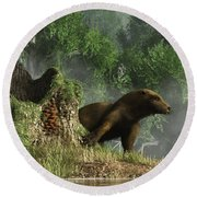 Otter By A Stump Round Beach Towel